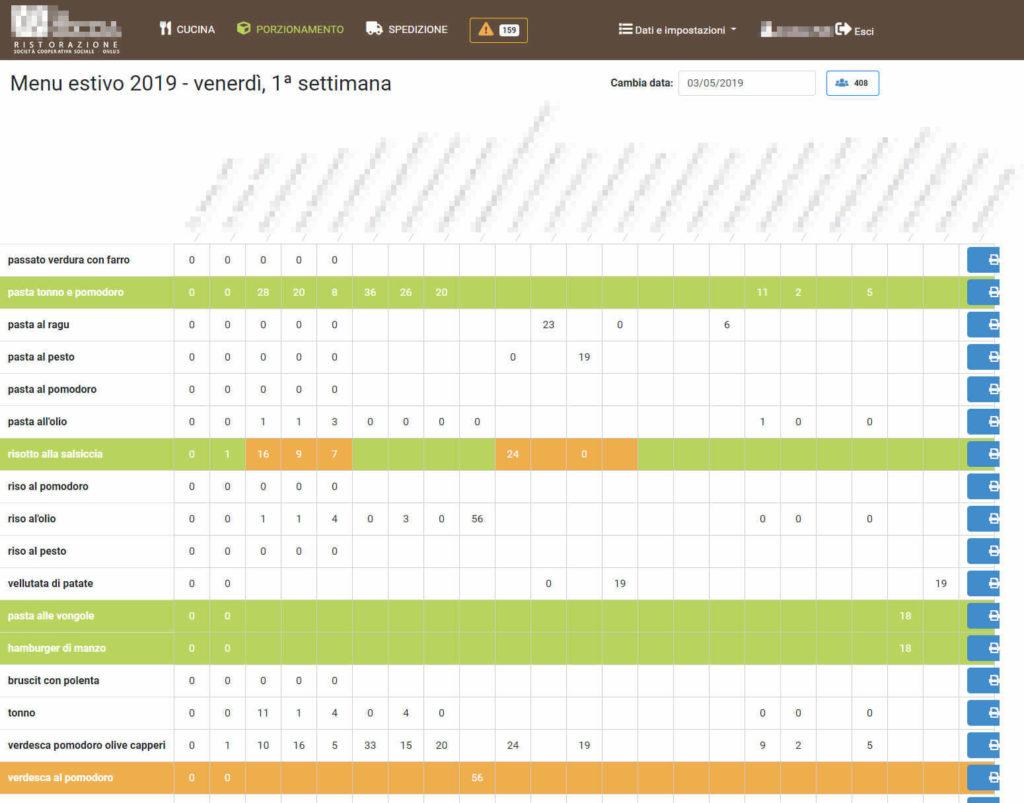 Web app per la gestione il flusso di lavoro di un centro di cottura - screenshot 1