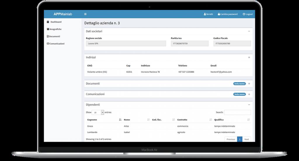 Web app per lo scambio di comunicazioni e documenti fra consulenti del lavoro e aziende clienti - screenshot 4