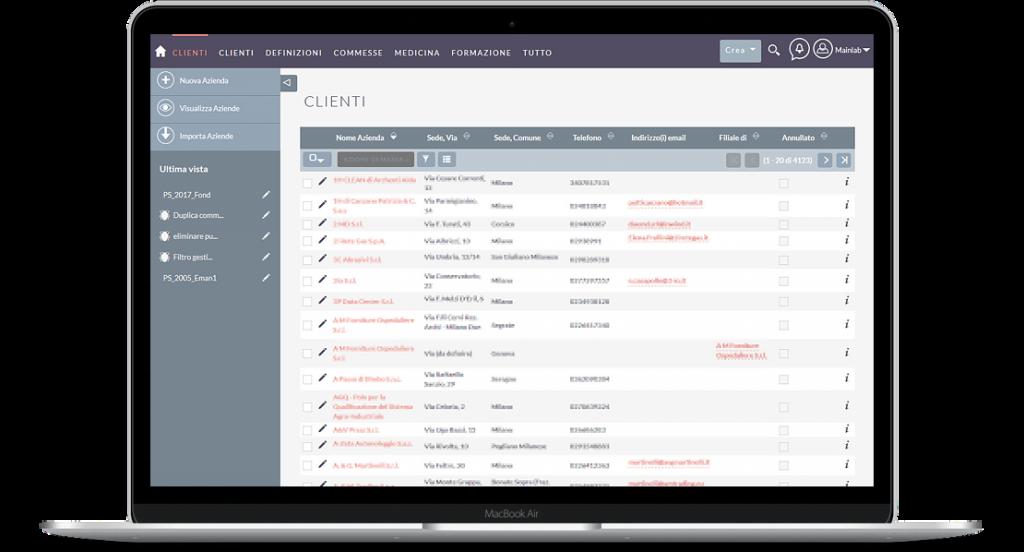Web app basata su SuiteCrm per società di consulenza specializzata in sicurezza sul lavoro - screenshot 1