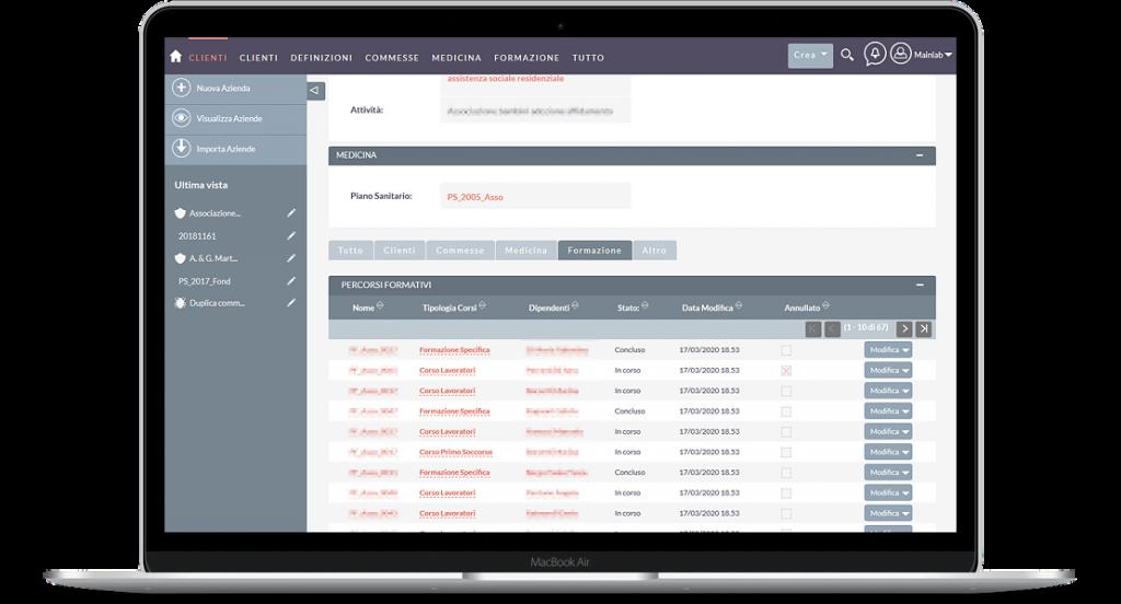 Web app basata su SuiteCrm per società di consulenza specializzata in sicurezza sul lavoro - screenshot 5